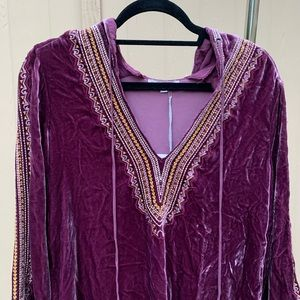 Johnny Was Purple Velvet Embroidered Hooded Tunic